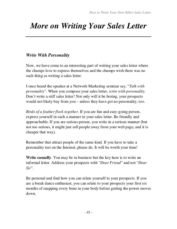 44 U2013; 45. How To Write Your Own Killer Sales Letter ...