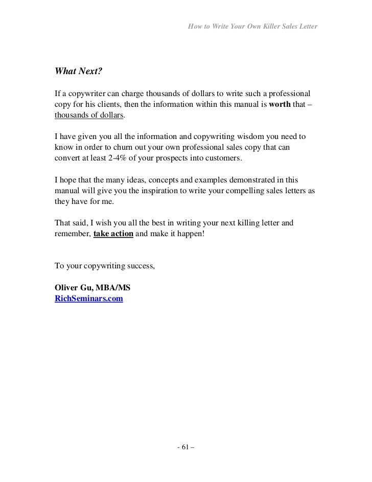 How towriteyourownseller letter – Professional Sales Letter