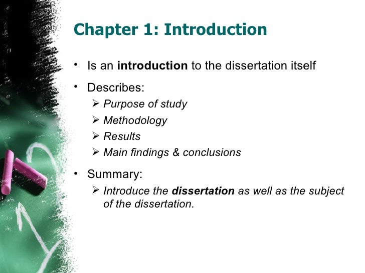purpose of introduction in dissertation The main body of the dissertation starts with the introduction  include one or  two sentences that clearly summarize the goal of your research.