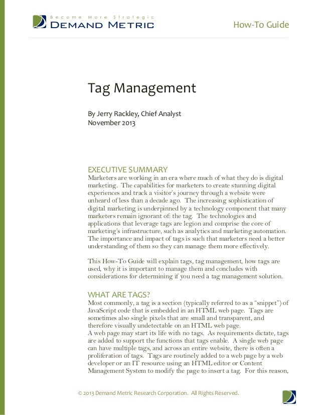 How-‐To Guide          Tag Management    By Jerry Rackley, Chief Analyst  November 2013           EXEC...