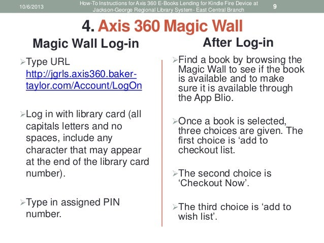 How-To Instructions for Axis 360 E-Books Lending for Kindle