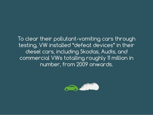 "To clear their pollutant-vomiting cars through testing, VW installed ""defeat devices"" in their diesel cars, including Skod..."