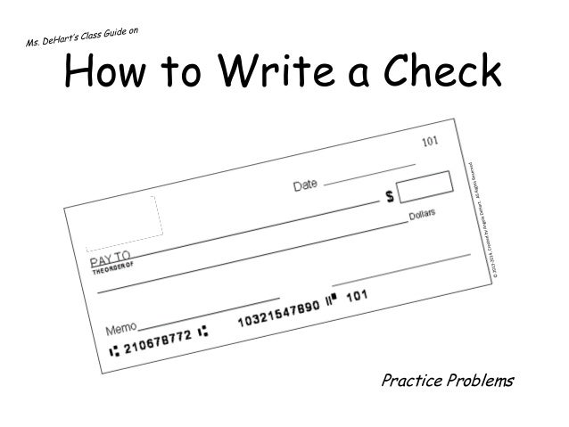 How to Write a Check: Practice