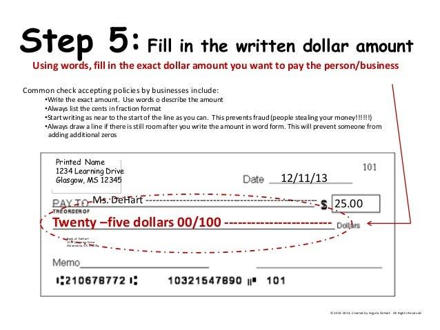 Writing dollar amounts in words