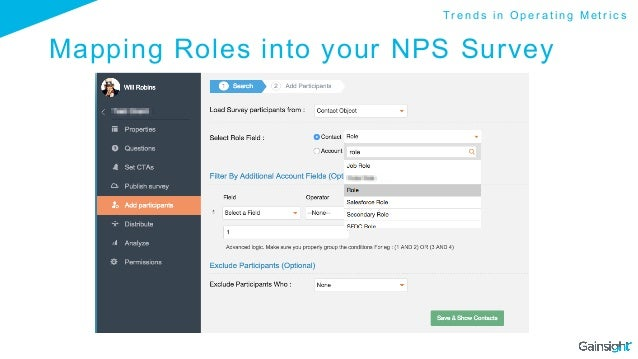 Mapping Roles into your NPS Survey T r e n d s i n O p e r a t i n g M e t r i c s
