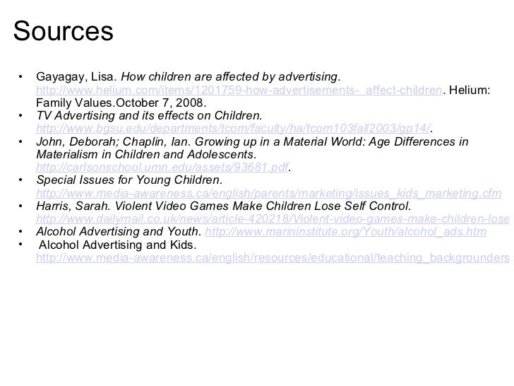 how advertising affects children essay This essay will explore how advertising and the messages they convey are related with the global society.