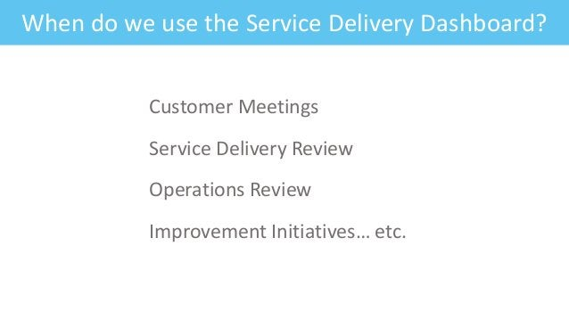 Feature: Fitness CriteriaWhen do we use the Service Delivery Dashboard? Customer Meetings Service Delivery Review Operatio...