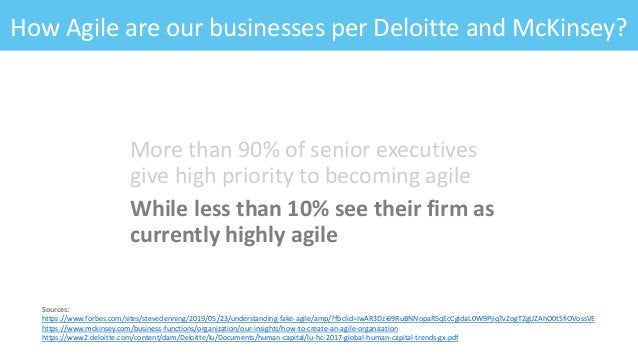 How Agile are our businesses per Deloitte and McKinsey? More than 90% of senior executives give high priority to becoming ...