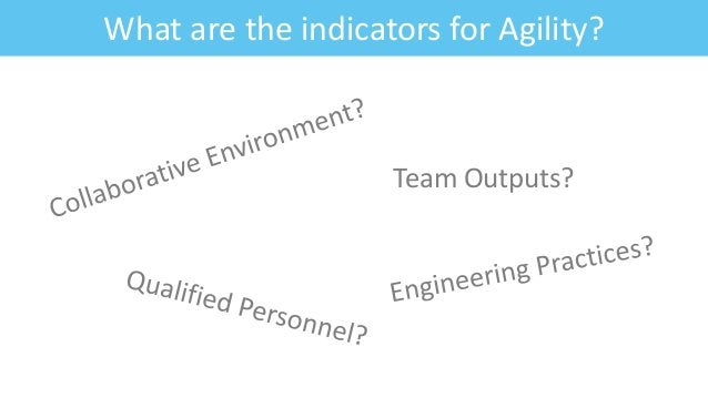 What are the indicators for Agility? Team Outputs?