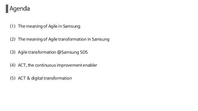 How Agile works in samsung SDS Slide 3