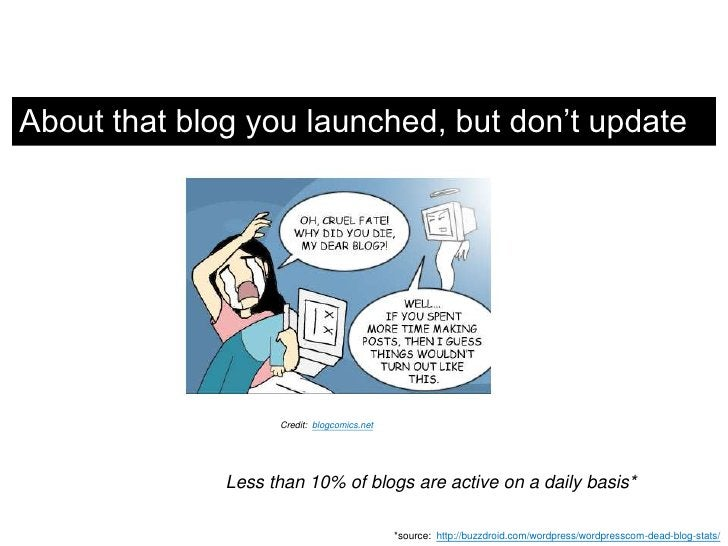 About that blog you launched, but don't update<br />Credit:  blogcomics.net<br />Less than 10% of blogs are active on a da...