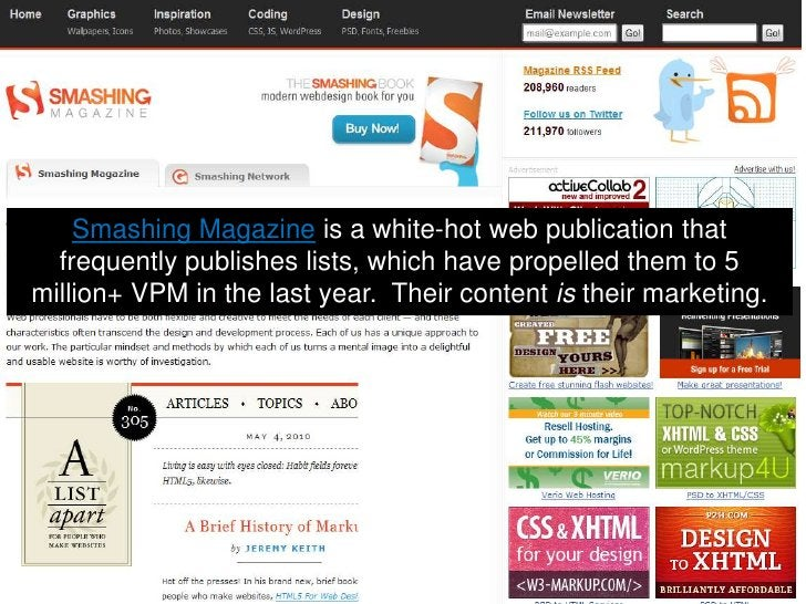 Smashing Magazine is a white-hot web publication that frequently publishes lists, which have propelled them to 5 million+ ...