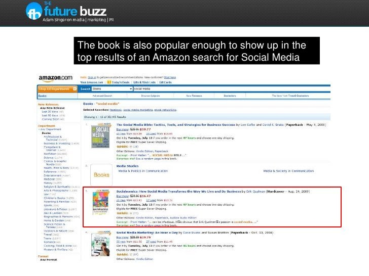 The book is also popular enough to show up in the top results of an Amazon search for Social Media<br />