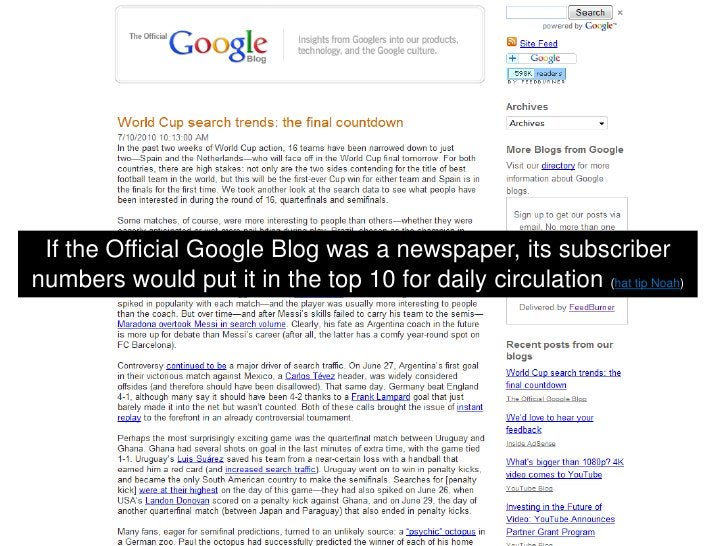 If the Official Google Blog was a newspaper, its subscriber numbers would put it in the top 10 for daily circulation (hat ...