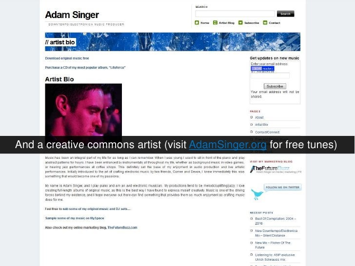 And a creative commons artist (visit AdamSinger.org for free tunes)<br />
