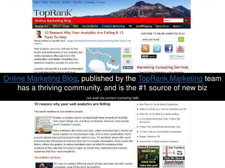 Online Marketing Blog, published by the TopRank Marketing team has a thriving community, and is the #1 source of new biz(w...