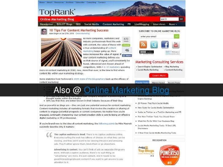 Also @ Online Marketing Blog<br />