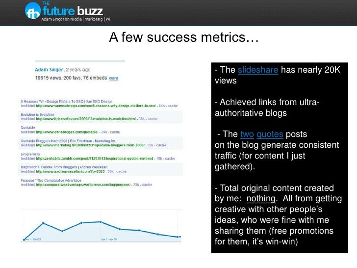 A few success metrics…<br />- The slideshare has nearly 20K views- Achieved links from ultra-authoritative blogs - The two...