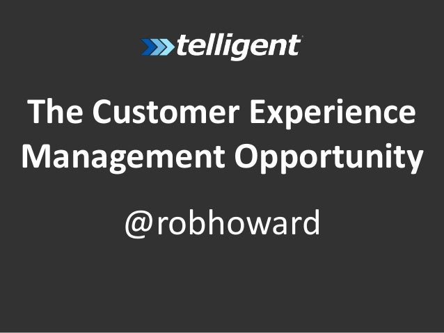 The Customer ExperienceManagement Opportunity@robhoward