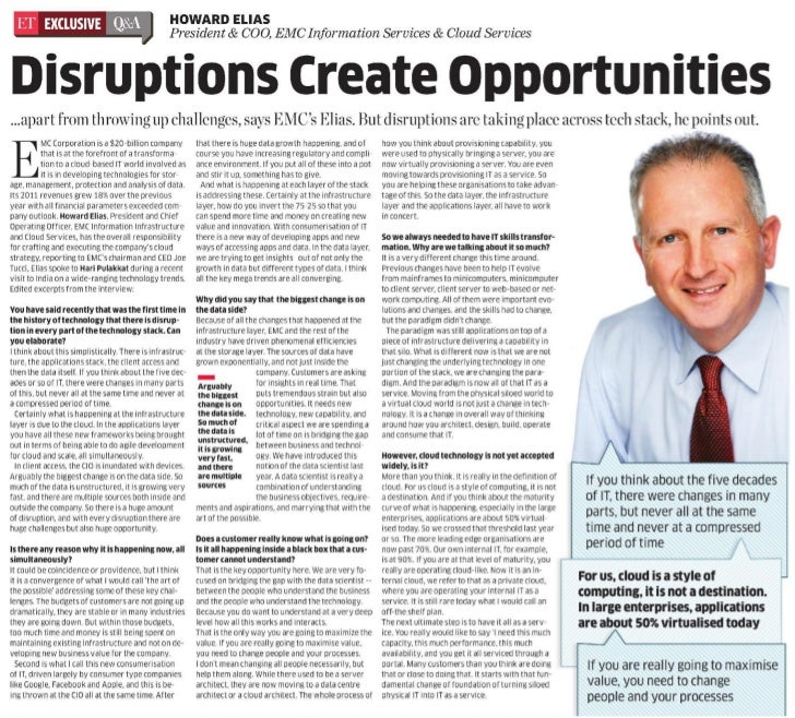Howard Elias interview The Economic Times, March 29, 2012