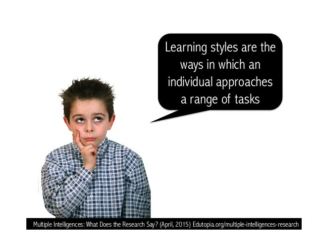 Learning styles are the ways in which an individual approaches a range of tasks Multiple Intelligences: What Does the Rese...