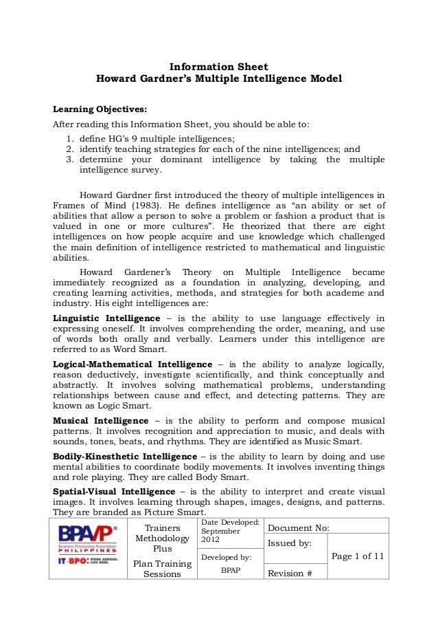 image about Howard Gardner Multiple Intelligences Test Printable named Howard Gardners A number of Intelligences