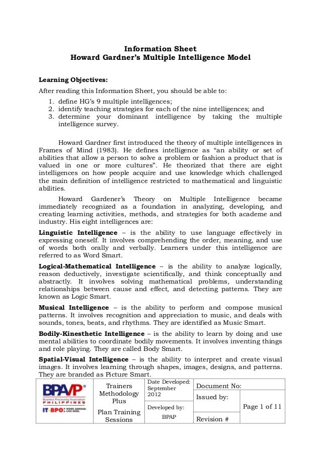 graphic about Howard Gardner Multiple Intelligences Test Printable named Howard Gardners Various Intelligences