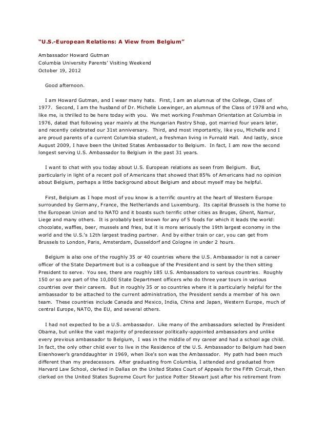 """U.S.-European Relations: A View from Belgium"" Ambassador Howard Gutman Columbia University Parents' Visiting Weekend Octo..."
