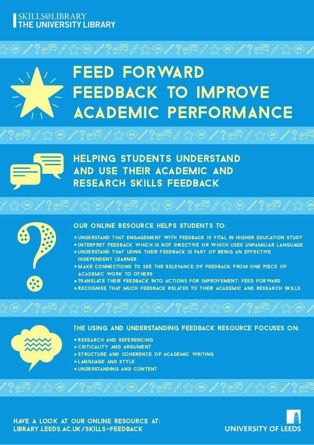 Feed forward feedback to improve academic performance Helping students understand and use their academic anD research skil...
