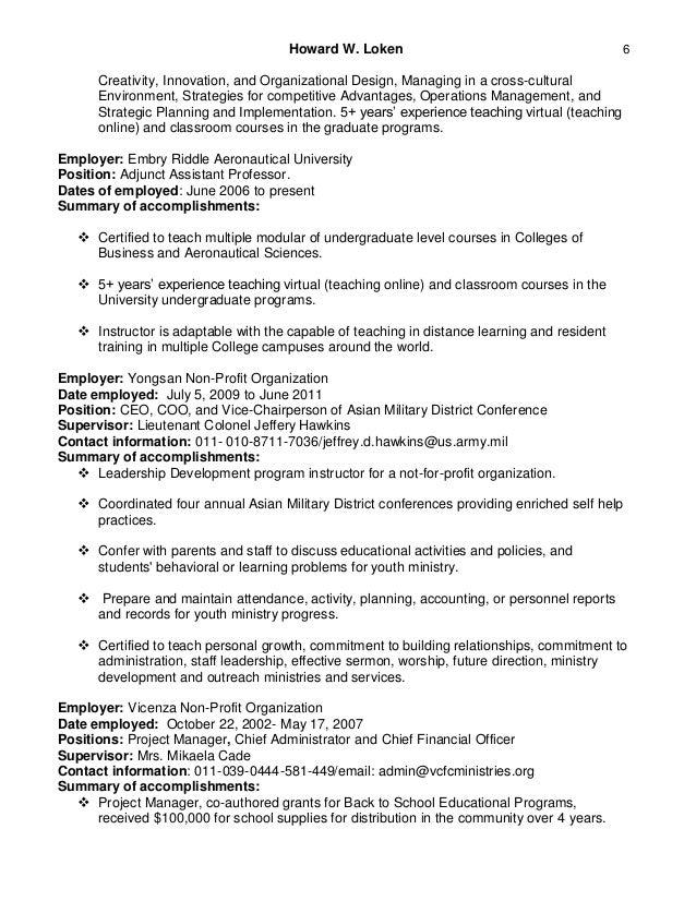 howard loken s adjunct assistant professor resume 2016