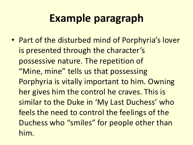 porphyrias lover essays Porphyria's lover is vastly misunderstood robert browning poetry innacurate interpretations include the wrongful association with murder by a selfish madman to a.