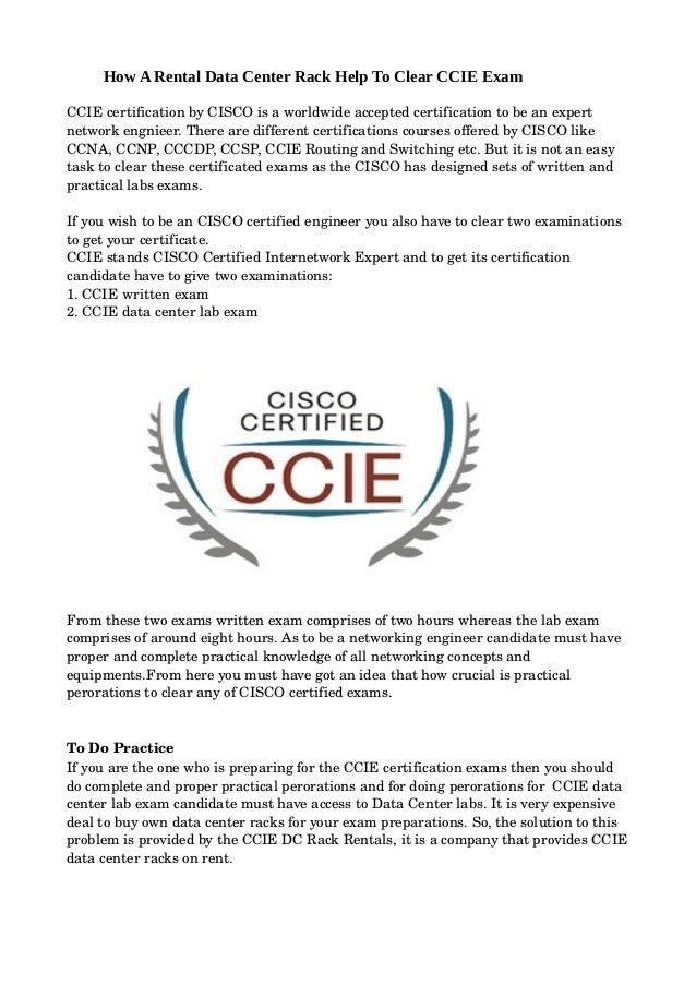 How a rental data center rack help to clear ccie exam
