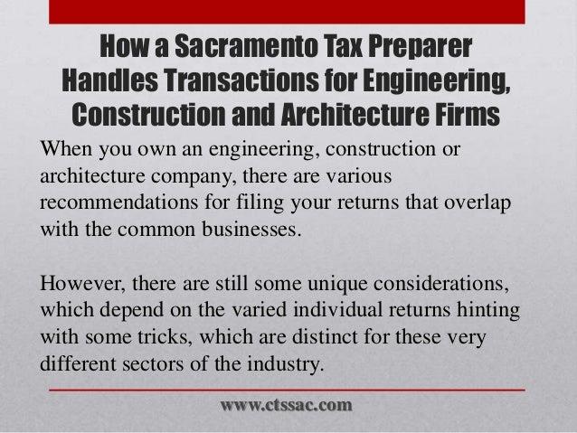How a sacramento tax preparer handles transactions for for Architecture firms sacramento