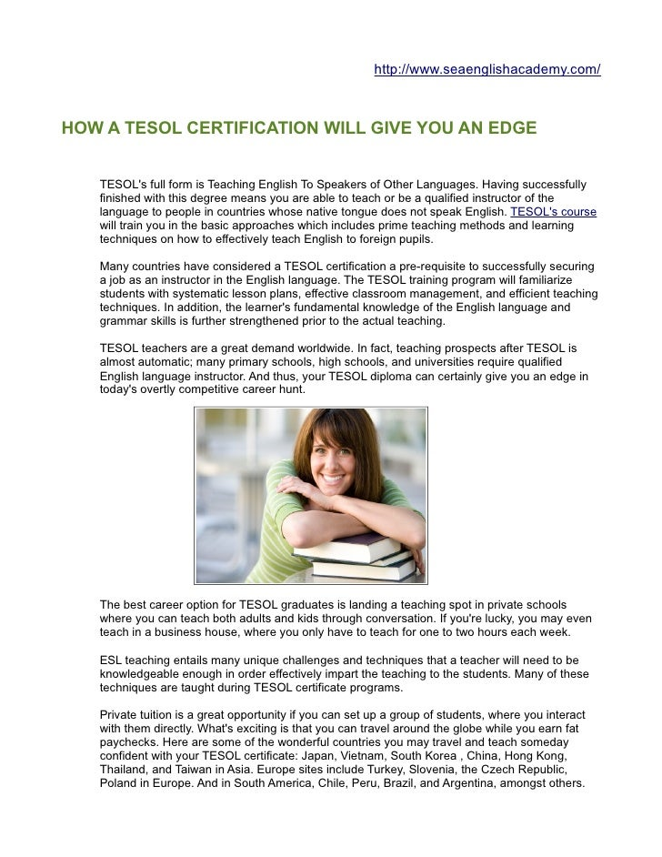 How A Tesol Certification Will Give You An Edge