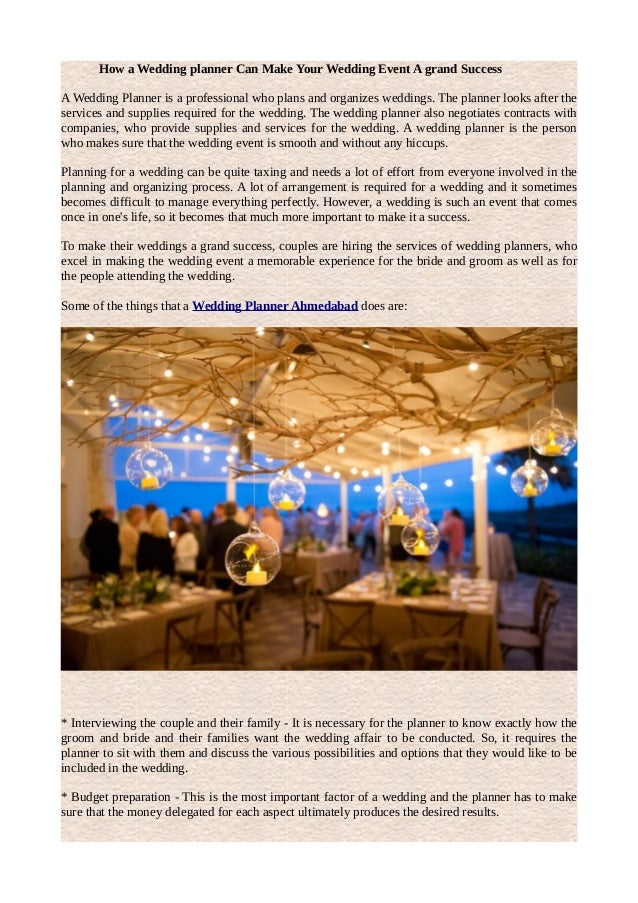 How A Wedding Planner Can Make Your Event Grand Success Is
