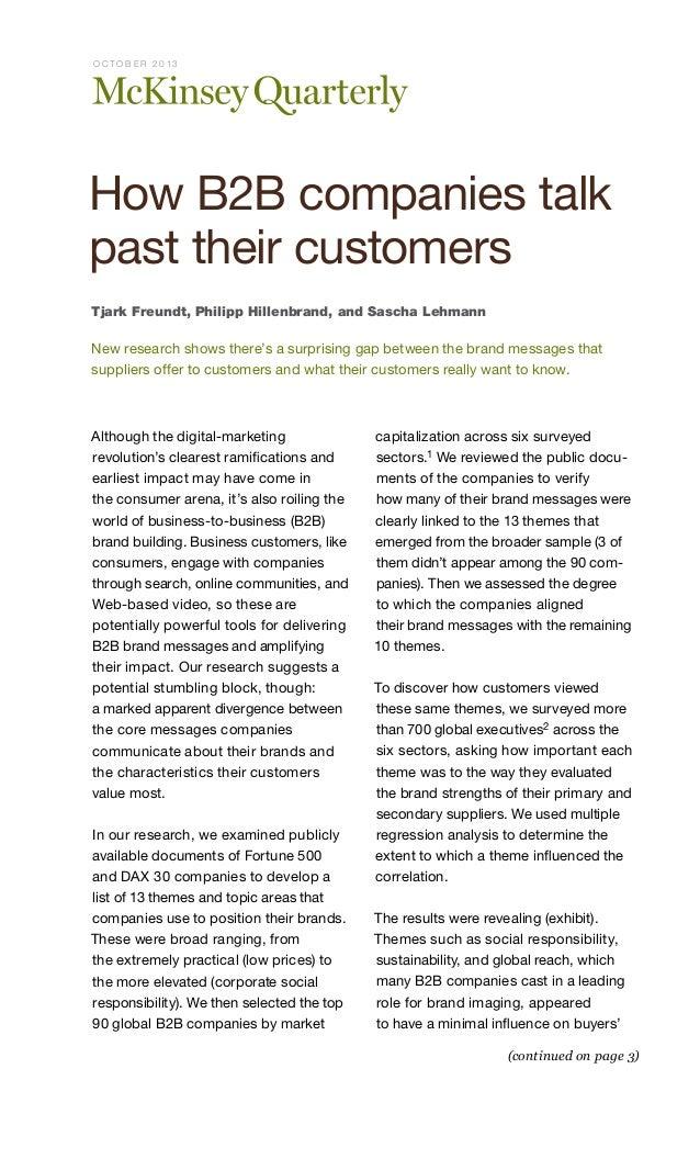 O CTO B E R 2013  How B2B companies talk past their customers Tjark Freundt, Philipp Hillenbrand, and Sascha Lehmann  New ...