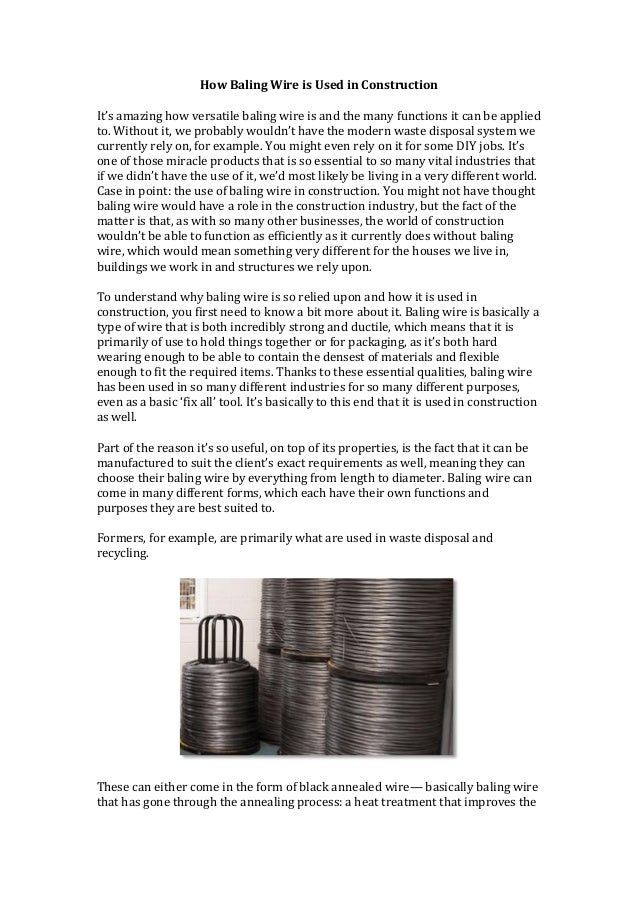 Used Baling Wire : How baling wire is used in construction