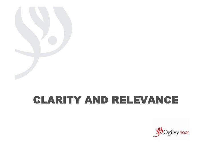 CLARITY AND RELEVANCE