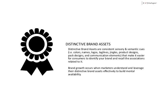 DISTINCTIVE BRAND ASSETS Distinctive Brand Assets are consistent sensory & semantic cues (i.e. colors, names, logos, tagli...