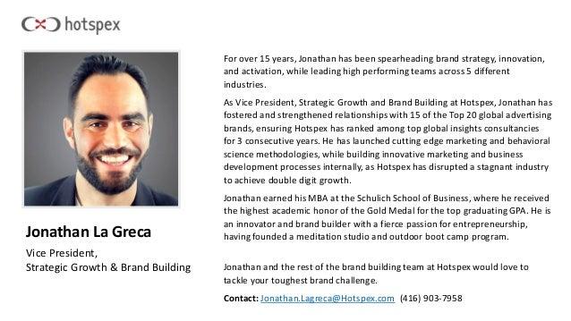 Jonathan La Greca Vice President, Strategic Growth & Brand Building For over 15 years, Jonathan has been spearheading bran...