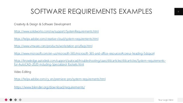 SOFTWARE REQUIREMENTS EXAMPLES Your Logo Here 9 Creativity & Design & Software Development https://www.solidworks.com/sw/s...