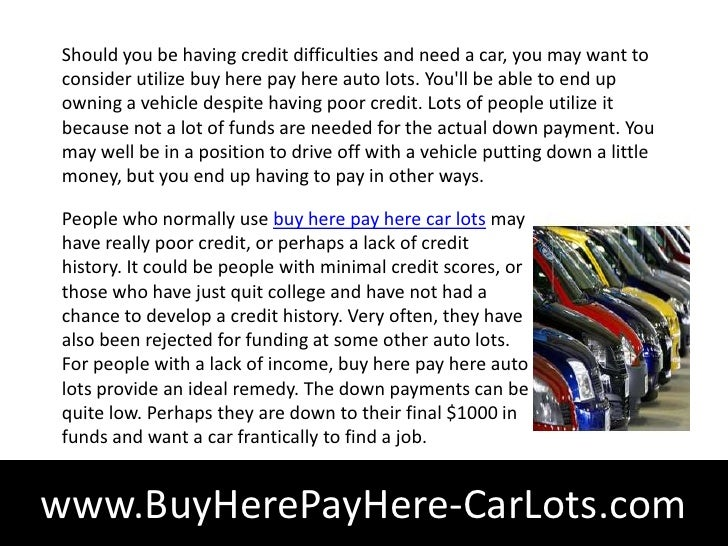 How Buy Here Pay Here Vehicle Lots Work