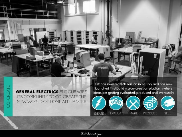 LaMercatique GENERAL ELECTRICS ENCOURAGES ITS COMMUNITY TO CO-CREATE THE NEW WORLD OF HOME APPLIANCES GE has invested $30 ...