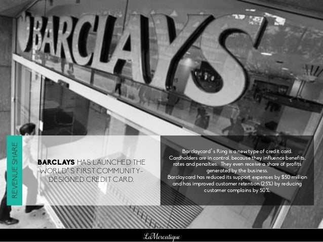 LaMercatique BARCLAYS HAS LAUNCHED THE WORLD'S FIRST COMMUNITY- DESIGNED CREDIT CARD. Barclaycard's Ring is a new type of ...