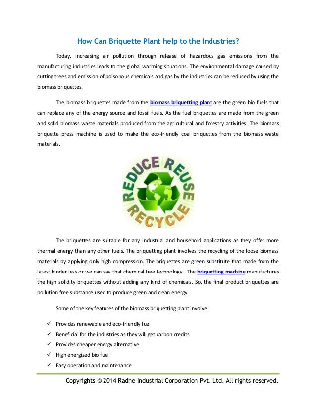 Copyrights © 2014 Radhe Industrial Corporation Pvt. Ltd. All rights reserved. How Can Briquette Plant help to the Industri...