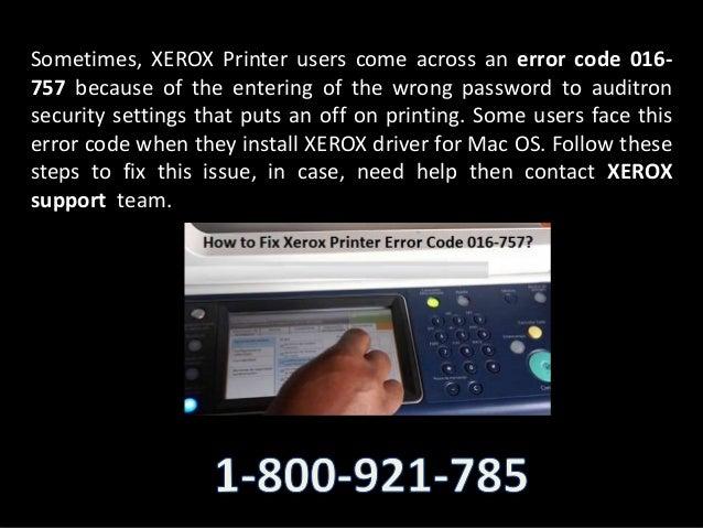 How can i resolve xerox printer error code 016 757