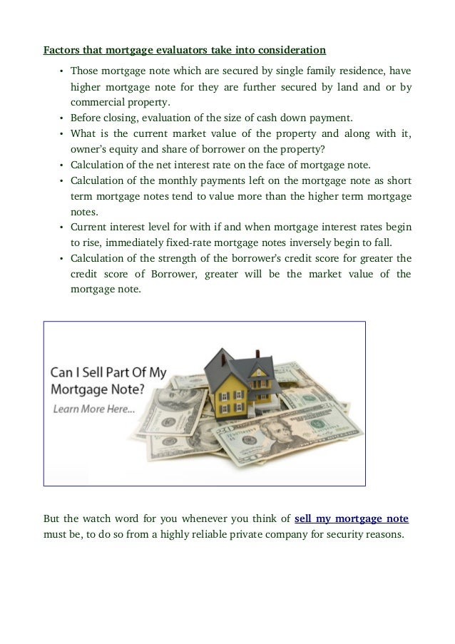 How Can I Sell My Mortgage Note And What Factors Determine It