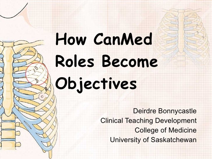 How CanMed Roles Become Objectives Deirdre Bonnycastle Clinical Teaching Development College of Medicine University of Sas...