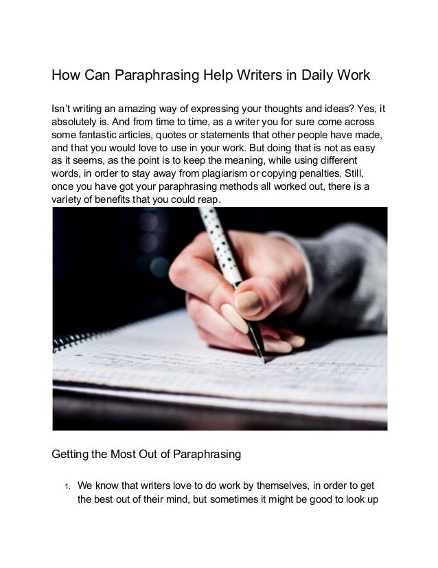 Paraphrasing help