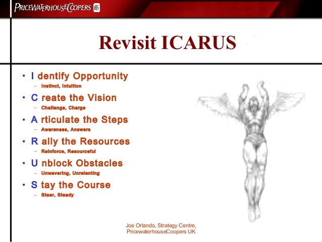 Joe Orlando, Strategy Centre, PricewaterhouseCoopers UK Revisit ICARUS • I dentify Opportunity – Instinct, Intuition • C r...